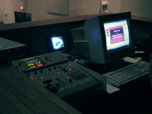 Overdrive Productions Inc. installed the Sound and Video systems at Grace Church International's new building. Pictured here is the video mixer, que monitor, scaler switcher and P.C. used for Media Shout software